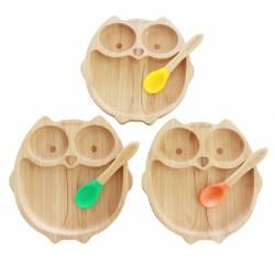 Piatto in bambù, civetta,...